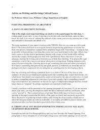 williams college essay advice on writing and revising critical essays english