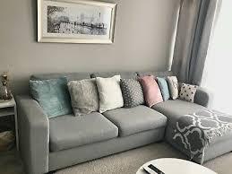 dfs tula 3 seater leather grey sofa