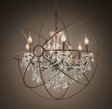 foucaults orb clear crystal chandelier 60 contemporary living room with restoration hardware deconstructed