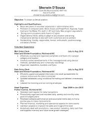 Resume Objective For Clerical Position Front Desk Clerk Objectives