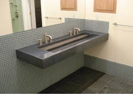 grey floating undermount double trough sink mixed metal towel finishes in bathroom master mixing metals