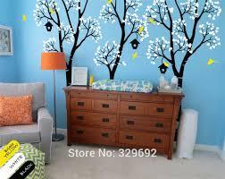 liberty bedroom wall mural: huge nursery tree with birdhouse birch tree wall sticker kids baby bedroom art cute decor vinyl