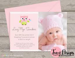 Baby Thankyou Owl Birth Announcement Printable Baby Girl Thankyou Card Baby