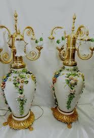 capodimonte porcelain chandelier pair vases lamps 6 lights pink rose italian full size