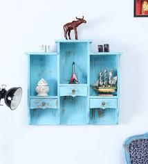 blue mango wood wall shelf with hooks for wall hanging by satyam international