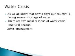 water crisis in its solutions