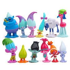12pc/lot Hot Sale Trolls Action Figures Toys Kids Dolls Cartoon Models Cute Desk Christmas for Children