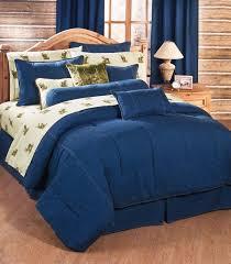 karin maki indigo blue jean denim bedding comforter pillow sham set 6 sizes