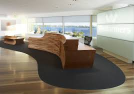 Unique Wooden Receptionist Table In Contemporary Reception Desk Design With  Dark Swivel Chair Stand On Gothic Carpet At Wesfarmers Office Schemes