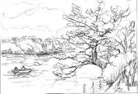 スケッチのコツ 桜と池のある風景 大人の塗絵 塗り絵で癒し 風景画 花の絵