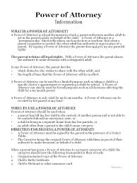 Power Of Attorney For Child Care Power Of Attorney Form Child Care Profesional Resume For