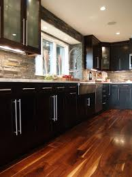 Simple Stone Kitchen Backsplash Dark Cabinets Contemporary Black Wood Flooring Tile Inside Impressive Design
