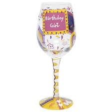 painted birthday girl wine glass