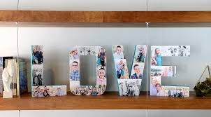 how to create a photo collage on paper mache letters for a
