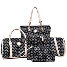 <b>Women Handbag Set 6 Pcs</b> PU Leather <b>Tote Purse Set</b> Multi ...