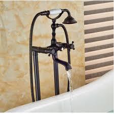 solid brass oil rubbed bronze bathtub faucet floor mount tub filler hand shower