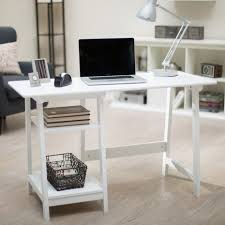home office desk white. Manhattan Open Computer Desk With Adjustable Shelf- White Home Office Desk White