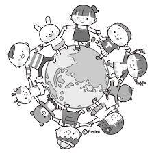 友達の輪のイラストモノクロ 子供と動物のイラスト屋さん わたなべふみ