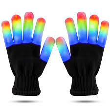 Light Gloves Led Finger Light Gloves Cool Fun Toys Flashing Light Up Kids Size Small Black Gloves 6 Modes Super Bright Leds Blue Green And Red Black Small