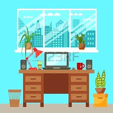 colorful office accessories. Fine Office Colorful Office Accessories Desk Vector  Closeup Concept Flat Work Interior Design Elements Table Laptop  On