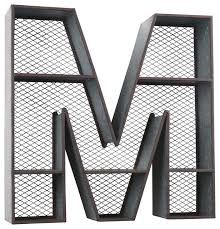galvanized tin letter wall shelf m