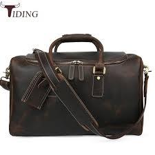 tiding italian leather travel duffle bags women luggage handbag designer weekender bag overnight bags brown travel tote bags hot