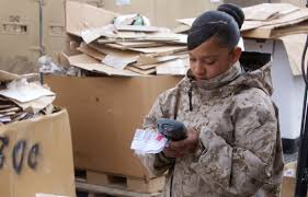 storage marines providing supplies to troops in > st hi res photo