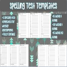 Spelling Test Template Simple Spelling Test Templates 48 Words And 48 Words Plus Bonus TpT