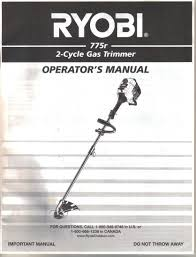 ryobi weed eater manual. get quotations · ryobi 775r 2 cycle gas-powered string trimmer, instruction guide owner\u0027s manual weed eater