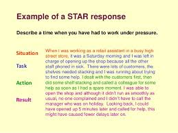 Example of a STAR response Situation Task Action Result ...