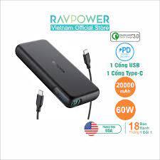 Pin Sạc Dự Phòng RAVPower 20000mAh In/Out Type-C QC 3.0 + PD 60W Sạc Laptop  - RP-PB201 - Hàng Chính Hãng - Đen