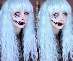 creepy cute makeup with crazy white big eye lenses