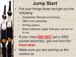 jump start pick up a jamestown background essay from the front  11 jump