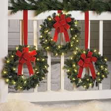 Set Of 3 Cordless Pre-Lit Mini Christmas Wreaths | Wreaths, Garland & Swags   Christmas Wreaths For WindowsOutdoor ...