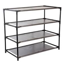 Home Basics 10 Tier Coated Non Woven Shoe Rack 100Pair 100 in H Reclaimed Wood 100Shelves Shoe OrganizerZ151010073 88