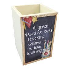 teacher pen pot holder love learning wooden pencil desk tidy organiser