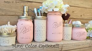 Mason Jar Bathroom Accessories Blue Mason Jar Etsy