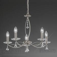 fl2225 5 monaco 5 light crystal ceiling light satin nickel