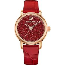 crystalline hours watch leather strap red rose gold tone pvd swarovski