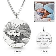 round laser engraved personalized photo necklace sterling silver jeulia jewelry