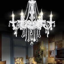 costway elegant crystal chandelier modern 6 ceiling light lamp pendant fixture lighting 0