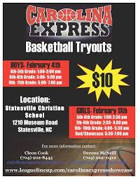 youth select basketball tryout flyers b carolina express boys and girls basketball statesville nc