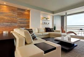 ... Top Notch Ideas For Your Apartment Interior Design Options :  Captivating Decoration Using Cream Leather Sectional ...