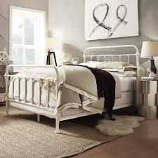 Details about Iron Bed Frame Antique White Queen Bed Frame Rustic Vintage Victorian Sturdy New