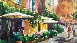 watercolor painting tutorial italian cafe 4k