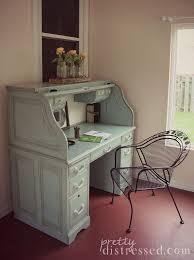 blue painted oak desk