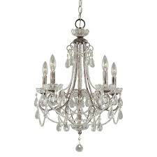 minka lavery 3134 207 5 light 1 tier candle style crystal mini chandelier in distressed silver