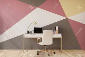 red black home office. Black, Red, Yellow And White Geometric Wall Pattern Home Office With A Wooden Floor Red Black C