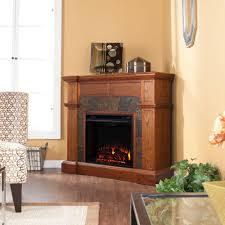 convertible electric fireplace in mission oak