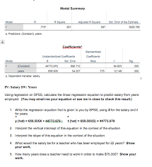 Salary Calculator Interesting Solved Using Regression On SPSS Calculate The Linear Reg